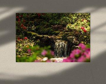 Petite chute d'eau entourée de fleurs à Keukenhof sur Margriet Hulsker