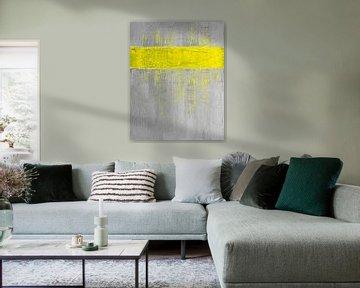 Gelb gestreift grau abstrakt von Joske Kempink