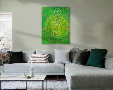 Grüne Malerei mit Punkten
