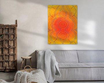 Orange Malerei mit Punkten