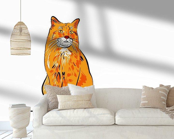 Beispiel fototapete: Rote Katze von Teun Poppelaars