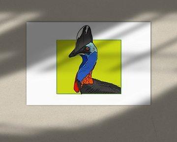 Kasuari Vogel gefärbt von Teun Poppelaars