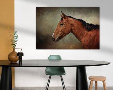 Portrait Braunes Pferd von Diana van Tankeren