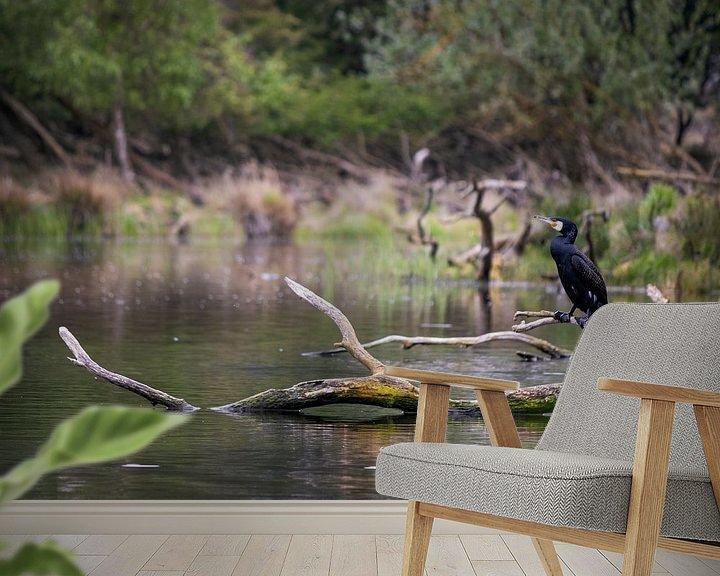 Beispiel fototapete: Kormoran sitzt auf einem Ast im Wasser. von Sharon de Groot