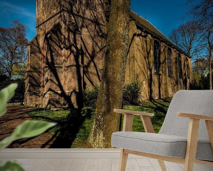 Sfeerimpressie behang: Schaduwen op een Kerk van Brian Morgan