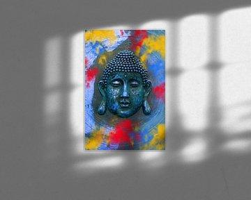 Boeddha met Holi kleuren van Thomas Herzog