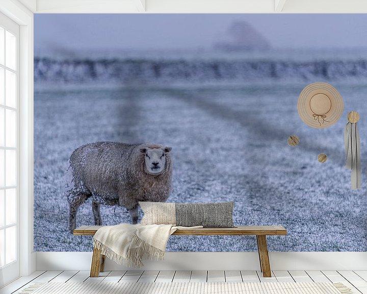 Sfeerimpressie behang: Winter op Texel schaap in de verse sneeuw van Texel360Fotografie Richard Heerschap