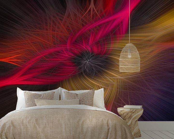Sfeerimpressie behang: Abstracte twirl in rood en geel van Leo Luijten