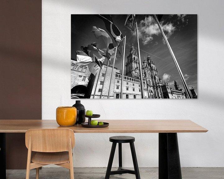 Sfeerimpressie: Kathedraal van Santiago de Compostella, Spanje (zwart-wit) van Rob Blok