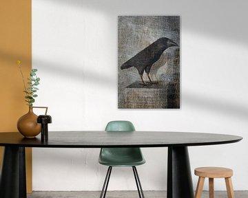 Krähe auf Leinwand von Marijke de Leeuw - Gabriëlse