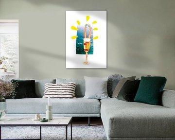 Champagne Zomer Art Print Cheers! van Jolijn Ceelen