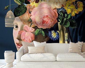 Meisje Met de Parel – The Floral on Blue Edition van Marja van den Hurk