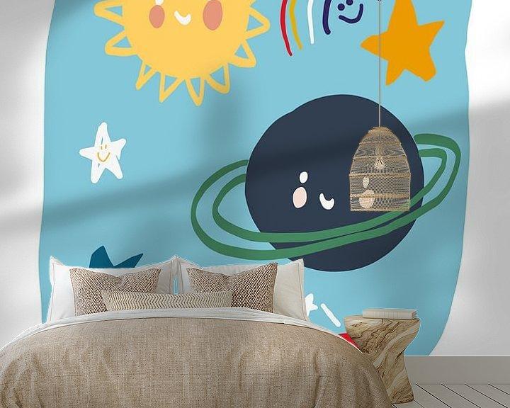 Beispiel fototapete: Planeten Illustration Kinderzimmer von Jolijn Ceelen