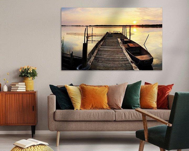 Sfeerimpressie: Oude houten steiger in de zonsondergang van Frank Herrmann