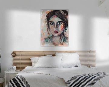 Abstrakte intuitive Porträt Frau mit schwarzen Haaren von Bianca ter Riet