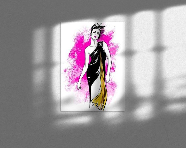 Beispiel: Pink Explosion Modeillustration von Janin F. Fashionillustrations