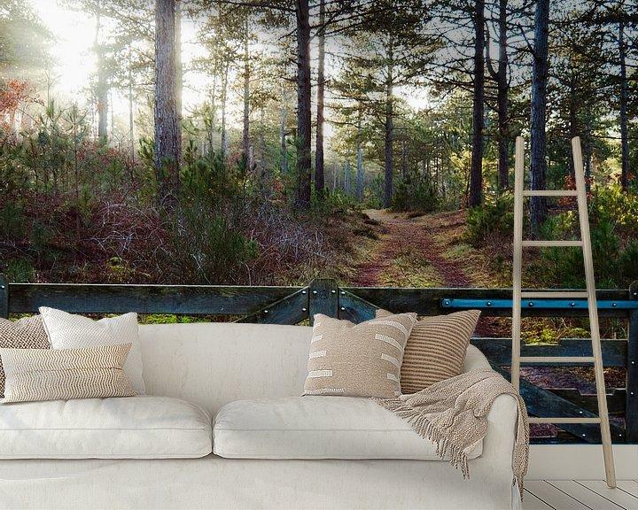 Beispiel fototapete: Zaun mit Wald von Martijn Tilroe
