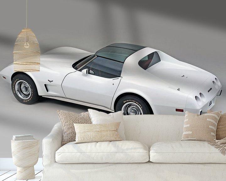 Sfeerimpressie behang: Chevrolet Corvette C3 1977 van Willem van Holten