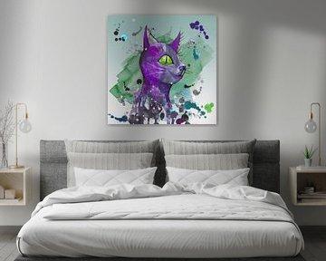 Wilde lila Grunge Katze von Bianca Wisseloo