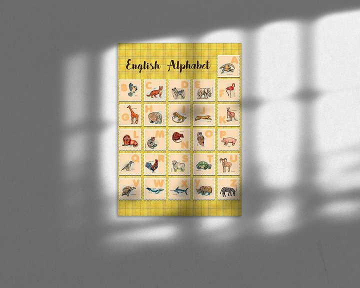 Impression: hand drawn animals poster for all English letters sur Ariadna de Raadt-Goldberg
