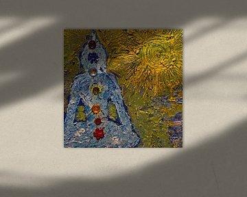 Boeddha in de zon met de zeven chakra's