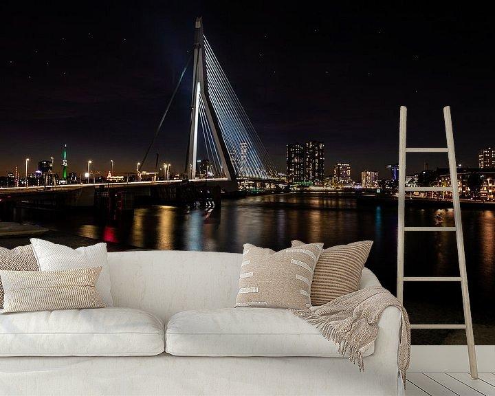 Sfeerimpressie behang: Erasmusbrug Rotterdam van Brian Morgan