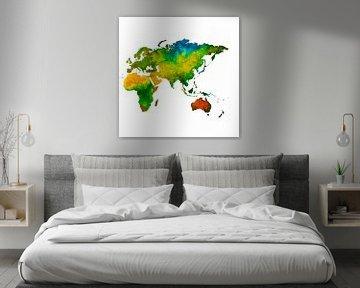 Die östliche Hemisphäre in Aquarell | Wandkreis von Wereldkaarten.Shop