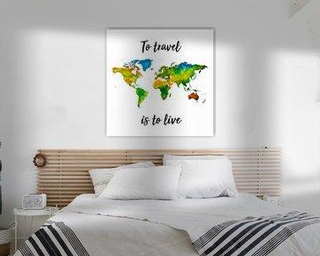 Weltkarte in Aquarell mit Zitat | Wandkreis von Wereldkaarten.Shop