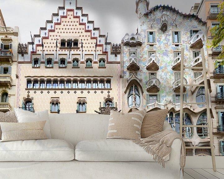 Sfeerimpressie behang: Barcelona | Casa Batllo door Antoni Gaudi van Panorama Streetline