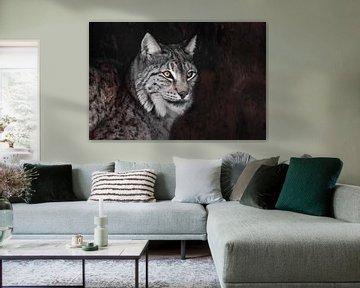 Serieuze lynx, oranje ogen grijs haar van Michael Semenov