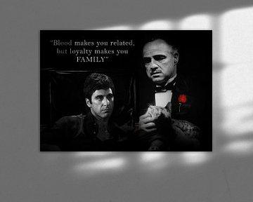 Tony Montana und Don Vito Corleone mit einem schönen Zitat. Auch mit eigenem Angebot erhältlich! von Bert Hooijer