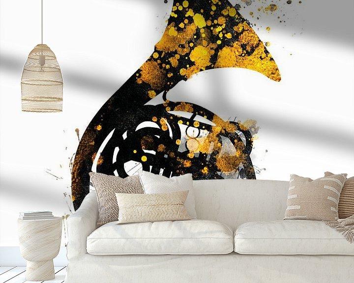 Sfeerimpressie behang: franse hoorn 1 muziekkunst #frenchhorn #muziek van JBJart Justyna Jaszke