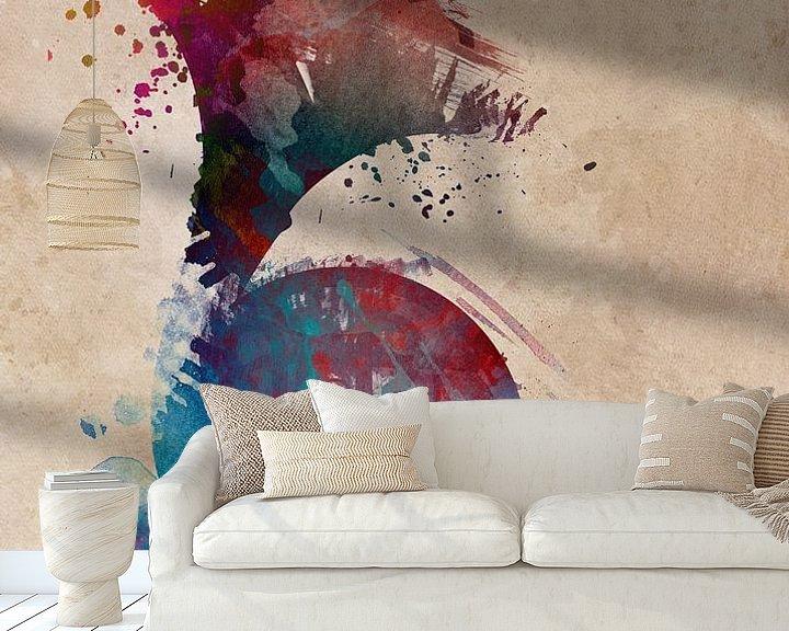 Sfeerimpressie behang: franse hoorn 4 muziekkunst #frenchhorn #muziek van JBJart Justyna Jaszke