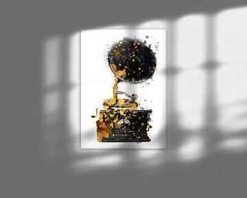 Gramofoon muziekkunst goud en zwart #grammofoon #muziek van JBJart Justyna Jaszke