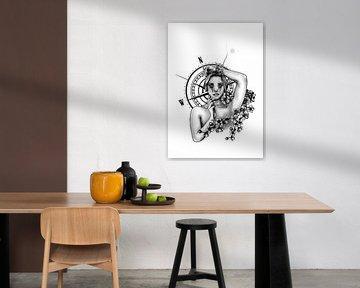 Compass girl tattoo design