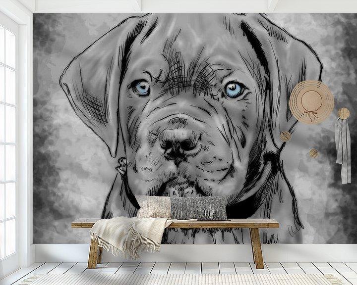 Beispiel fototapete: Carne Corso Welpe digitale Zeichnung von Jos Laarhuis