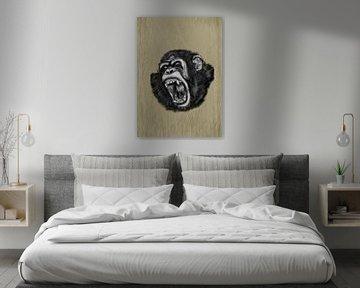 Een schreeuwende chimpansee aap van Jos Laarhuis