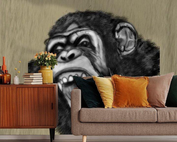 Sfeerimpressie behang: Een schreeuwende chimpansee aap van Jos Laarhuis