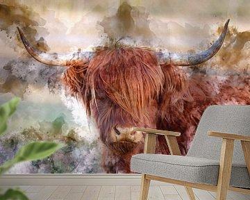 Rode Schotse hooglander in digitale kunst van gea strucks