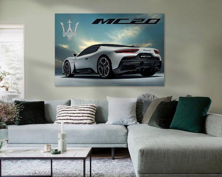 Beispiel: Maserati MC20, italienischer Sportwagen, mit Logo von Gert Hilbink