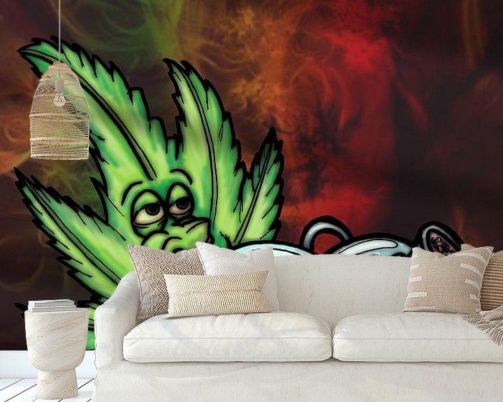 Sfeerimpressie behang: marijuana leaf smoking a bong van Jos Laarhuis