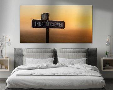 Panoramafoto straatnaambordjes met in het ochtendlicht van Percy's fotografie
