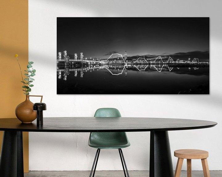 Sfeerimpressie: Panorama van het Stadsfront van Kampen in zwart wit van Fotografie Ronald