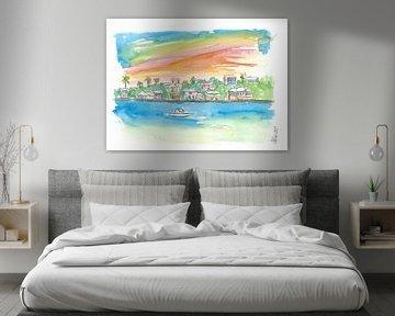 Bermuda Shoreline mit Häusern Palmen und Boot von Markus Bleichner