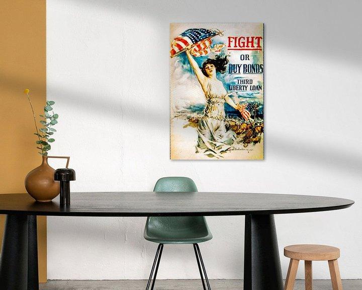Sfeerimpressie: Fight or Buy Bonds poster WWII van Brian Morgan