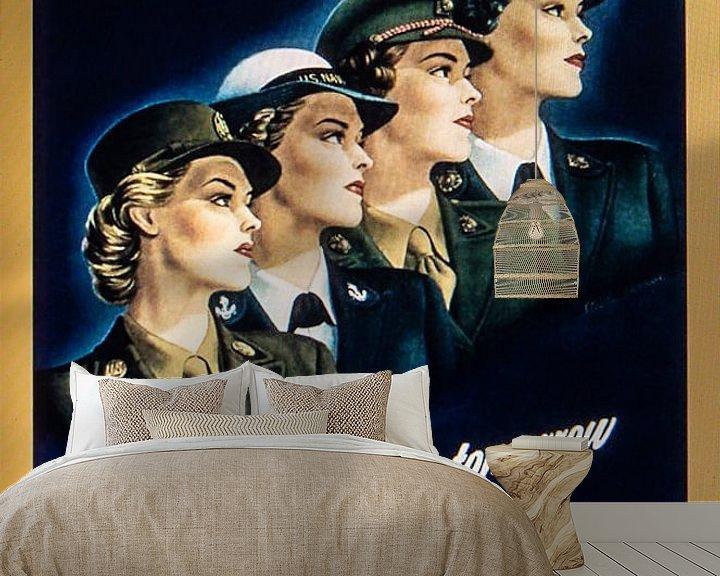 Sfeerimpressie behang: Recruitment Poster vrouwen. van Brian Morgan