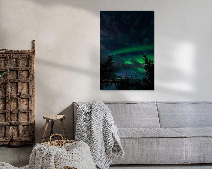 Impression: Les aurores boréales dans le ciel nocturne de l'île de Senja sur Sjoerd van der Wal