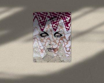 The face with the digital waves von Gabi Hampe