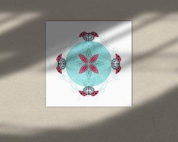 Tier-Mandala, der Marienkäfer. von Kirsten Jense Illustraties.