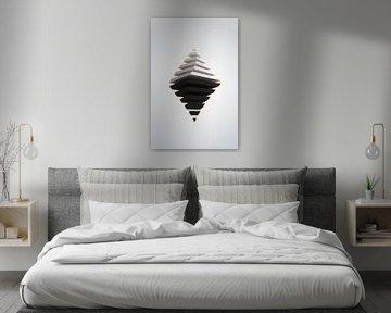 Schwarz-weiße Pyramiden mit Tiefenunschärfe und chromatischen Aberrationen von Jörg Hausmann